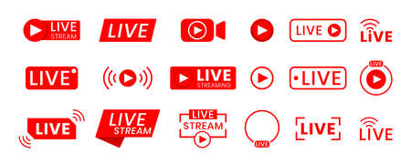 Collection of live streaming icons. Buttons for broadcasting, livestream or online stream. Template for tv, online channel, live breaking news, social media Vettoriali