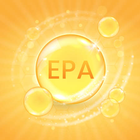 EPA from omega-3 fatty acid supplement, shiny oil vitamin capsule. Fish oil droplet design template for advertisement or branding. Realistic vector illustration of golden essence bubble Ilustración de vector