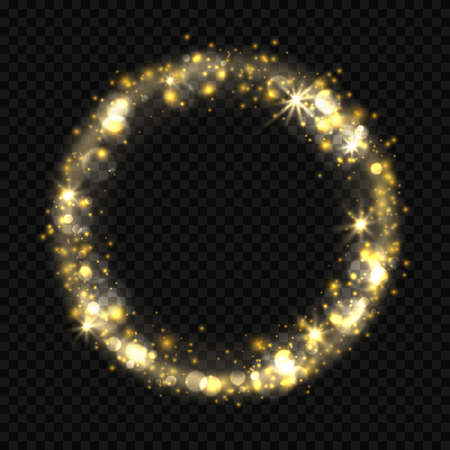 Round shiny starburst effect with sparkles, bokeh Golden light flare effect with stars, sparkle and glitter isolated on transparent background. Vector illustration of circle frame with stardust