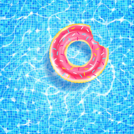 Swimming pool with floating ring, caustic ripple and sunlight glare effect. Aquatic surface with waves background. Realistic vector illustration of underwater bottom texture, top view