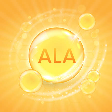 ALA from omega-3 fatty acid supplement, shiny oil vitamin capsule. Fish oil droplet design template for advertisement or branding. Realistic vector illustration of golden essence bubble