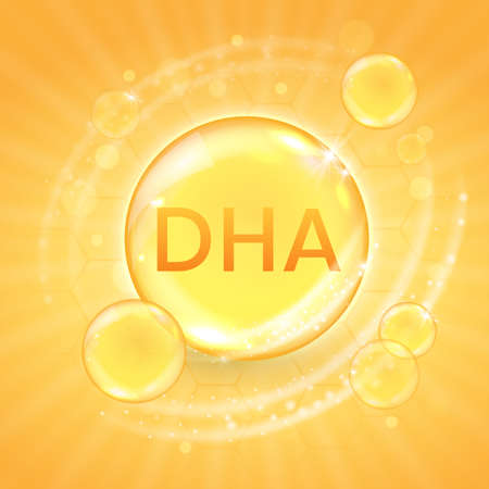DHA from omega-3 fatty acid supplement, shiny oil vitamin capsule. Fish oil droplet design template for advertisement or branding. Realistic vector illustration of golden essence bubble