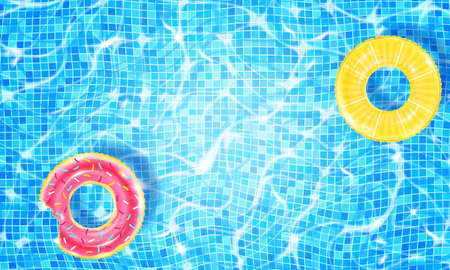Swimming pool with two floating rings, caustic ripple and sunlight glare effect. Aquatic surface with waves background. Realistic vector illustration of underwater bottom texture, top view