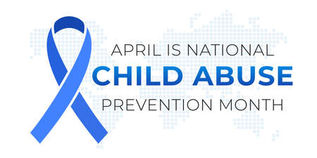 National Child Abuse Prevention Month banner design template. Celebrate annual in April in United States. Blue ribbon and map silhouette. Concept of children protection and safety