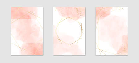 Collection of abstract dusty pink liquid watercolor background with golden lines and frame. Pastel marble alcohol ink drawing effect. Vector illustration design template for wedding invitation