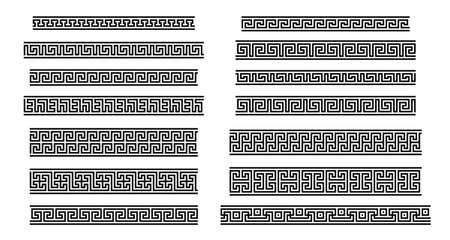 Greek Key borders. Traditional meander patterns. Collection of ancient roman style frames. Vector illustration of geometric tileable motives