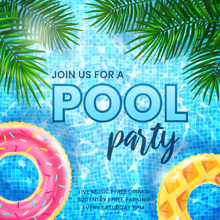 Pool Party invitation banner template. Ripple water background with inflatable rings and palm leaves. Design of flyer for summer beach party at night club or hotel. Vector 3d illustration