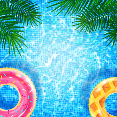 Swimming pool with floating ring, caustic ripple and sunlight glare effect. Aquatic surface with waves background, tropical leaves and inflatable rings. Realistic vector illustration of swimming pool