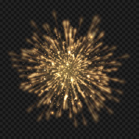 Glowing starburst explosion with sparkles and rays. Golden light flare firecracker effect with stars and glitter. Vector realistic illustration of shiny bright rocket burst Ilustración de vector