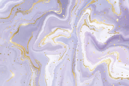Abstract dusty lavender liquid marble or watercolor background with gold glitter foil textured stripes. Pastel mauve marbled alcohol ink drawing effect. Vector illustration of luxury wedding backdrop