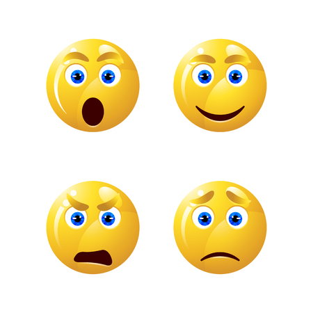 Set of emoticons  in glossy 3D. Set of emoji isolated on white background Illustration
