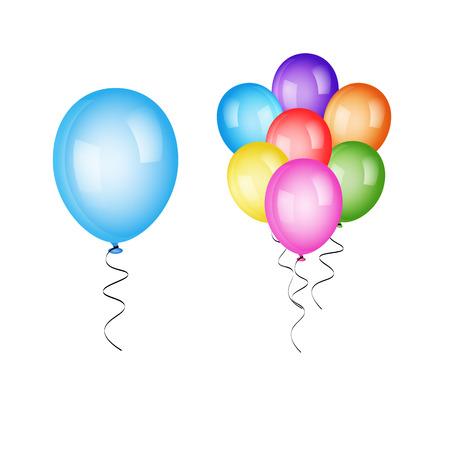 Set colorful balloons isolated on white background. Vector illustration Illustration
