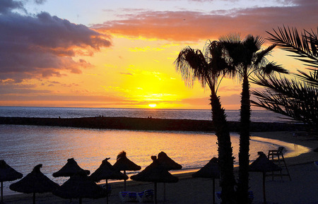 americas: Colorful sunset on Las Americas beach,Tenerife,Canary Islands,Spain.