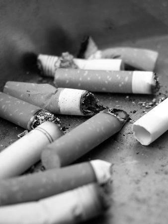 Close-Up of Ashtray with Cigarettes