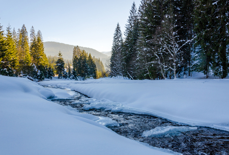 Winter mountain landscape, frozen river covered with snow flowing between the trees. Stock Photo