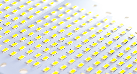 led flood light. led lamp. Components of LED lamps and drivers. IT technologies Stock Photo