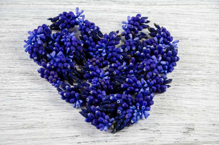 Heart of flowers. Blue flowers on a table in the shape of a heart