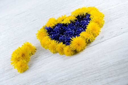 Heart of flowers. Blue and yellow flowers on a table in the shape of a heart