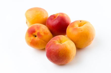 Peach. Red yellow peach on a white background