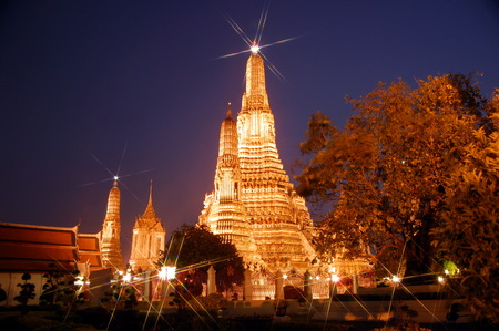 Night view of Wat Arun  during sunset in Bangkok, Thailand photo