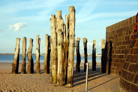 groynes: Wooden groynes on the English Channel;  Saint-Malo, Brittany, France