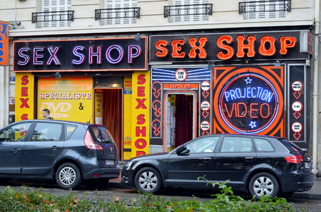 Pigalle, Montmartre;   Red light district in Paris, France Editorial