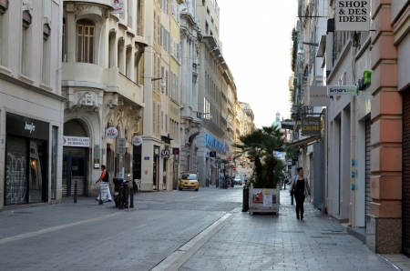 centers: Shopping street in Marseille, France