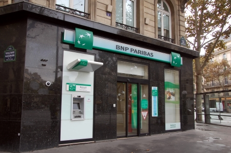 bank branch: BNP Pariba bank branch in Paris Editorial