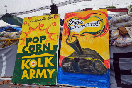 riots:  Barricades; Riots in Bangkok in 2014, Thailand, graffiti  Editorial