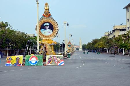 riots:  Barricades; Riots in Bangkok in 2014, Thailand, graffiti on the empty avenue