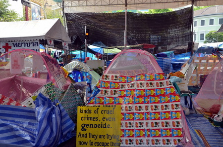riots: Barricades  Riots in Bangkok in 2014, Thailand  Tents with slogans  Editorial
