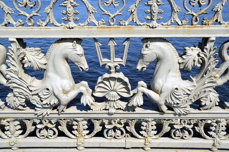 blagoveshchensky: Grate of the Blagoveshchensky  Annunciation  bridge  It is the first permanent bridge built across the Neva River in Saint Petersburg, Russia Stock Photo