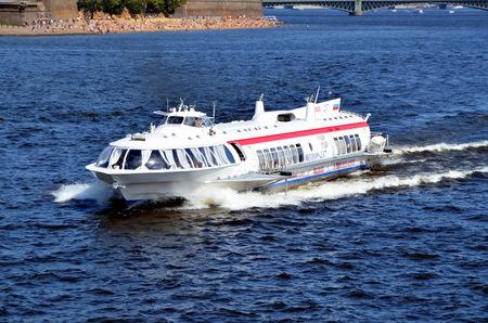neva: Speedboat on the Neva river from St-Petersburg to Kronshtadt Editorial