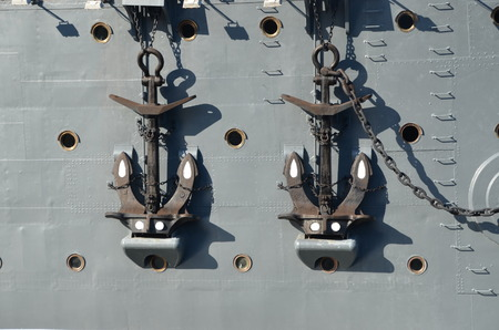 Anchors of cruiser Aurora - the legendary revolutionary ship of St  Petersburg, Russia  photo