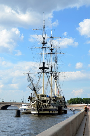 Sailboat  Grace  on the Neva river, St  Petersburg