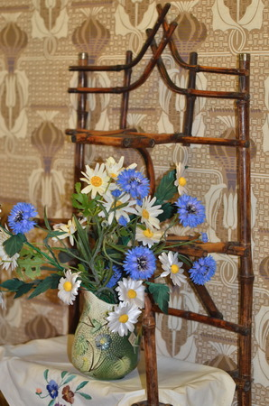 merchant: Merchant Alexander Samarin House Museum in Vologda, Russia; Vintage bookcase with bouquet of flowers
