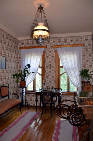 merchant: Bedroom interior of the 19th century in Russia. House of merchant Samarin in Vologda