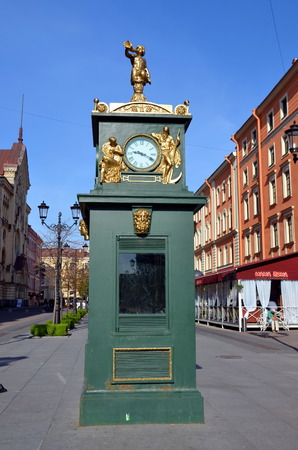 malaya: Barometer with clock on Malaya Konushennaya street in Saint - Petersburg Editorial