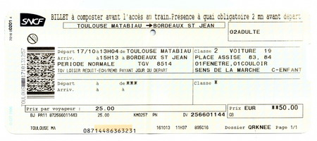Billet de train SNCF (Société des chemins de fer nationale française). Toulouse - Bordeaux, France Éditoriale
