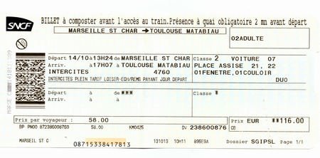 Train ticket SNCF (French National Railway Company). Marseille - Toulouse, France