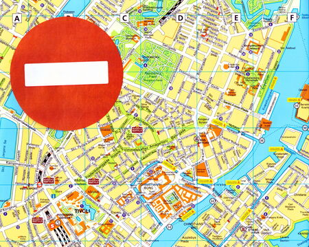 forbade: Concept: No entry sign on map of Kopenhagen, Denmark.  In 2014  the EU and the US forbade the entry for many Russian  high officials