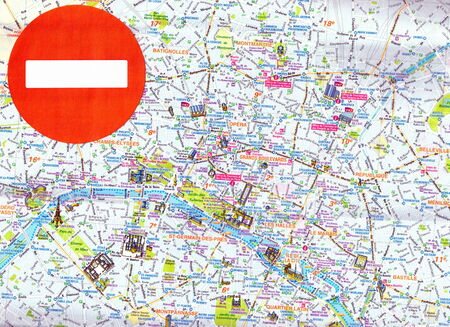 Concept: No entry sign on map of Paris, France.  In 2014  the EU and the US forbade the entry for many Russian  high officials
