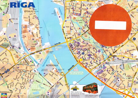 forbade: Concept: No entry sign on map of Riga, Latvia. In 2014 the EU and the US forbade the entry for many Russian high officials