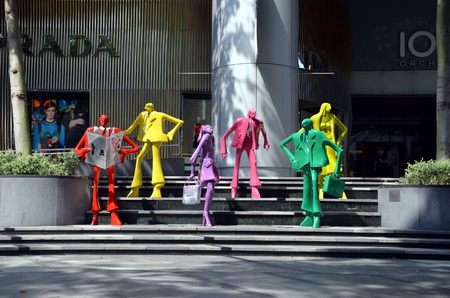 prada: Mannequins on Orchard Road in front of boutiques in Singapore Editorial
