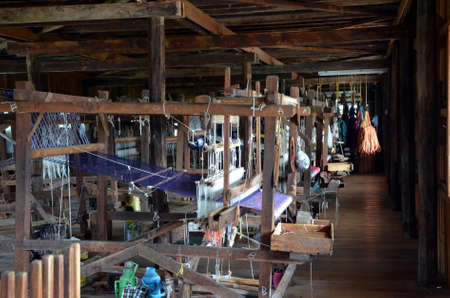 spinning factory: Weaving and spinning factory in Nuang Shwe, Myanmar