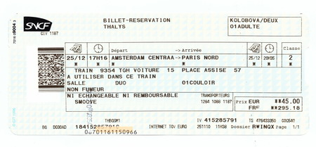 trains: Train ticket SNCF (French National Railway Company). Amsterdam - Paris (Thalys train) Editorial