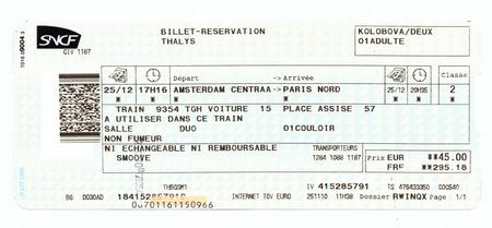 Train ticket SNCF (French National Railway Company). Amsterdam - Paris (Thalys train) Editorial
