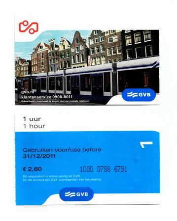 back in an hour: A   ticket for 1 hour by public transport in Amsterdam Holland front and back