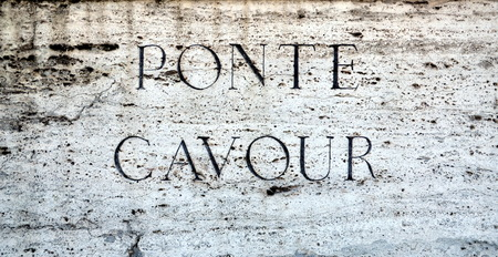 cavour: Stone plaque on Ponte Cavour in Rome, Italy. It opened on 25 May 1901 and is named after Camillo Benso, conte di Cavour, one of the pioneers of Italian unification Editorial