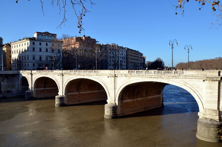 camillo: Ponte Cavour in Rome, Italy. It opened on 25 May 1901 and is named after Camillo Benso, conte di Cavour, one of the pioneers of Italian unification Stock Photo